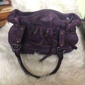 B Makowsky Purple Leather Satchel Purse NWOT